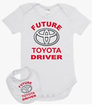 Baby Romper Suit PLUS a Baby Bib printed with FUTURE TOYOTA DRIVER
