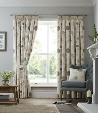 CLIMBING CHRYSANTHEMUMS BEIGE CREAM PENCIL PLEAT LINED CURTAINS 10 Sizes