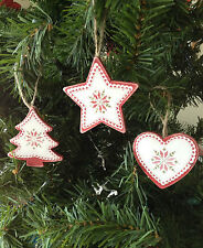 Gisela Graham Red & White Wooden Snowflake Tree Heart Star Christmas Decoration