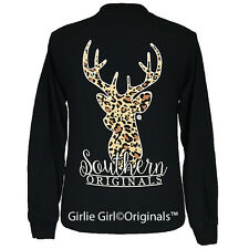 "Girlie Girl Originals ""Leopard Deer"" Black Long Sleeve Unisex Fit T-Shirt"