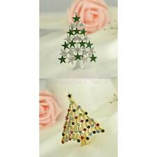 New Crystal Christmas Tree Brooch Pin Holiday Party Gifts