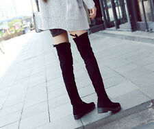 Fashion Faux Suede Over Knee Boots PullOn Slouch Casual Women Knight Boots Shoes