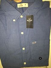 NWT Hollister by Abercrombie Mens Long Sleeve Shirts BLUE MIcro striped
