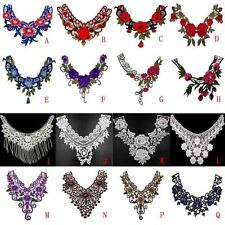 Beauty Lace Neckline Embroidered Floral Neck Collar Trim Clothes Sewing Applique