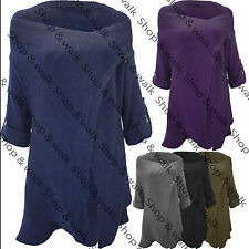 Womens Ladies Knitted Wrap Floaty Poncho Sweater Cardigan Dress Shawl Coat Top