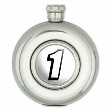 Round Stainless Steel 5oz Hip Flask Automotive Racing Number