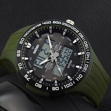 SKMEI-1066 Men's Sports Quartz Army Alarm Chrono Date Analog Digital Wrist Watch