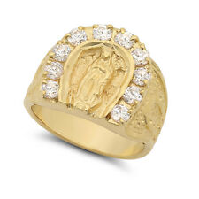Men's Heavy 14k Yellow Plated Gold Virgin Mary Lady of Guadalupe CZ Halo Ring