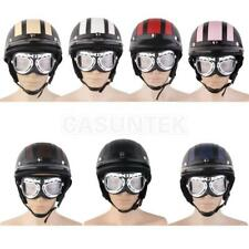 LEATHER OPEN HALF FACE SCOOTER MOTORCYCLE CRASH HELMET GOGGLES VISOR