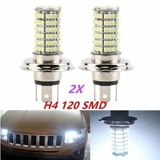 2x H4 120LED 3528SMD Xenon White Car Driving High Low Beam Fog HeadLight Bulb S@