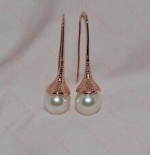 Lovely Ladies 18k/18ct Rose Gold Filled Pearl Drop Earrings