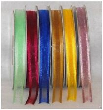 "3/8"" X 25 Yard Sheer Organza Ribbon With Satin Edge Multi Colors"