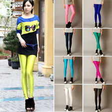 Women's Lady's Fluorescent Stretchy Neon Shiny Metallic Tight Pants Leggings 1Pc