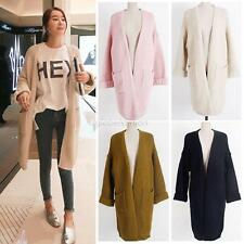 Women Long Sleeve Knitted Cardigan Loose Sweater Casual Sweatshirt Outwear Coat