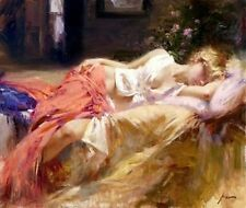 pino daeni Handcraft Portrait Oil Painting Wall Art on Canvas Sexy woman bed