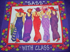 """PURPLE T-SHIRT WITH RED HAT LADIES ON THE FRONT AND IT READS """"SASS WITH CLASS"""""""
