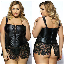 Plus Size S-6XL black SEXY Faux Leather lace Corset & Mini Skirt Lingerie