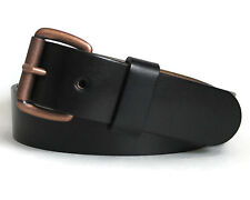 Men's Black Leather with Belt Antiqued Copper Finish Buckle - Handmade in USA