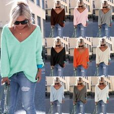 Women Pullovers Sweaters Autumn Long Sleeve V-neck Solid Knitted Knitwear S-XL