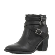 Womens Rocket Dog Deon Black Faux Leather Heeled Ankle Boots Size