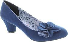 Ruby Shoo Samira Women's Blue Round Toe Medium Heel Slip On Court Shoes New