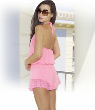 """NEW $90 """"GUESS"""" Sexy Summer Outfut, Backless Pink Lace Trim Jumper Romper XS S M"""