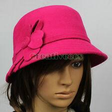 Fashion Women's Cap Fedora Bucket Dome Cloche Hat 3D Flower Bowler Derby Hat New