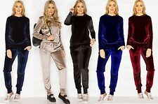 Womens Ladies NEW Velour Tracksuit Lounge Joggers Set Hood Casual Plus Size 8-14