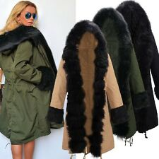 Women Luxury Warms Winter Faux Fur Hooded Parka Coat Overcoat Long Jacket New