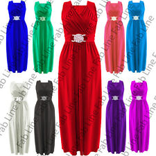 Womens Ladies Long Sleevless Maxi Buckle Wrapover Evening Dress Top Plus Size