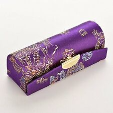 Purple Oriental Lipstick Holder Case With Mirror Inside