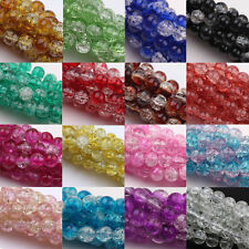 Lots 10-100Pc Charm Two Tone Round Glass Crackle Spacer Beads Finding 4-12mm
