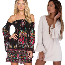Women Fashion Casual Flare Sleeve Blouse Party Evening Cocktail Mini Club Dress