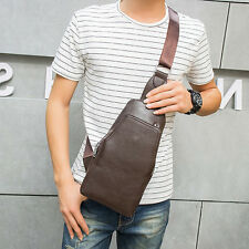 Men Faux Leather Travel Cross Body Messenger houlder Sling Pack Chest Bag