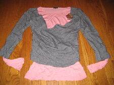 Left of Center Anthropologie Gray Pink Sweater Knit Top PERFECT Medium M