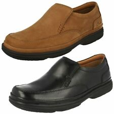 Mens Clarks Slip On Leather Wide Flexlight Shoes - Swift Step