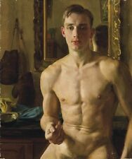 Handcraft Portrait Oil Painting on Canvas Naked Man Art 24x36""