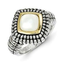 14k Yellow Gold w/Sterling Silver Two-Tone 14k/Silver w/Mother of Pearl Ring QTC