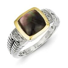 14k Yellow Gold w/Sterling Silver Two-Tone 14k/Silver w/Black Mother of Pearl &