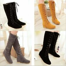 Womens Lace Up Flat Suede Hidden Heel Roma Flat Knee High Boots Shoes Plus Sz