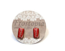 Coca Cola soda can or bottle plastic stud earrings hypo-allergenic