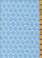 2-1/2 Yd  100% Cotton Quilt Sew Fabric General Blue White Leaf Tonal on Blue 15