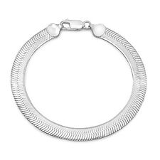 7mm Wide Solid .925 Sterling Silver Mirror Herringbone Flat Chain Bracelet