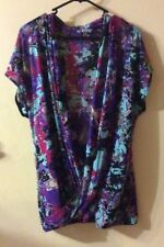 Womens Size XL SUZANNE GRAE Crossover Front Print Stretch Top