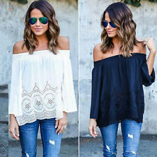 Sexy Womens Off Shoulder Lace Strapless T-Shirt Summer Casual Loose Top Blouse G