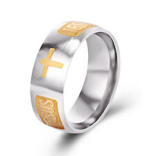 Mens Cross Silver Rings 7 8 9 10 11 Mystic Gold filled stainless steel womens