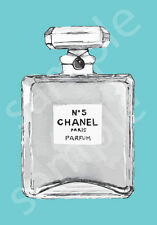 Chanel No.5 No5 Perfume Bottle Art Print Poster Canvas Custom Colours (pint)