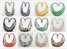 Three Layers Gradual 4-12mm Mixed Stone Round Beads Necklace 18inch x1022