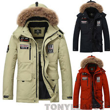Mens Duck Down Parka Fur Hooded Puffer Down Outdoor Jacket Winter Thicken Coat