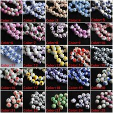 Pretty Flowers Round Ceramic Clay Porcelain Beads Spacer Jewelry Findings 10mm